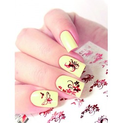 NAIL ART STICKERS RED FLOWERS